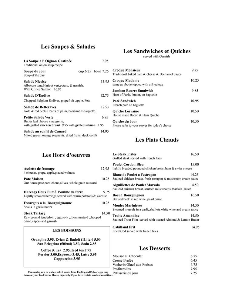 Albuquerque Affordable French Food-French Restaurant Menu-French
